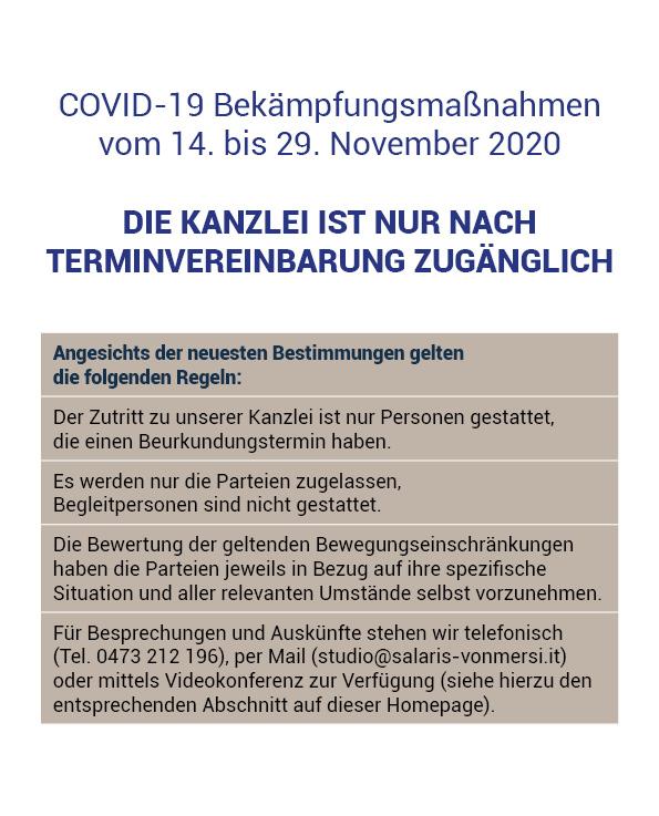 Covid-19 Maßnahmen November 2020 - Notar Meran / Schlanders