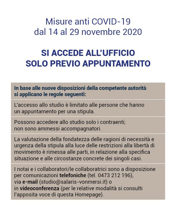 Misure anti Covid-19 novembre 2020 - Notaio Merano / Silandro